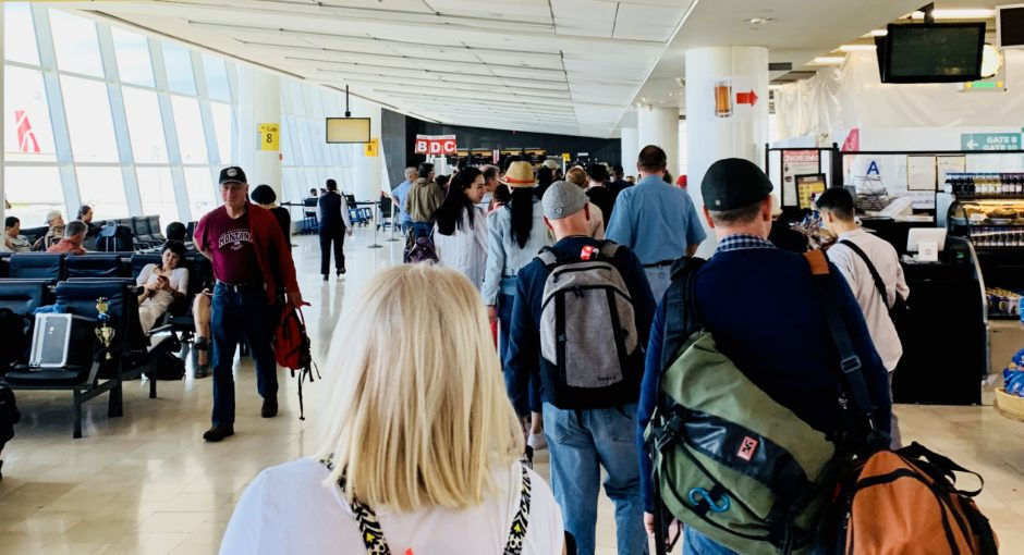 Waiting in line at JFK airport in New York